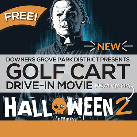 Golf Cart Drive-in Movie Featuring 'Halloween II'